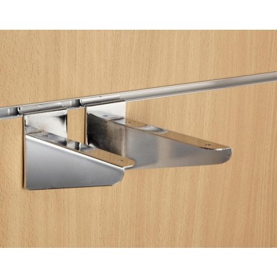 "6"" inch (150mm) Chrome Slatwall Wood Shelf Brackets (pair)"