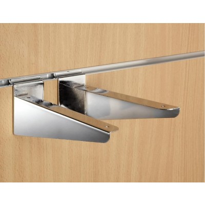 "8"" inch (200mm) Chrome Slatwall Wood Shelf Brackets (pair)"