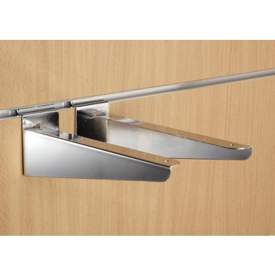"10"" inch (250mm) Chrome Slatwall Wood Shelf Brackets (pair)"