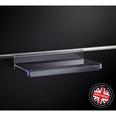Clear Acrylic Slatwall Flat Shelf with Lip