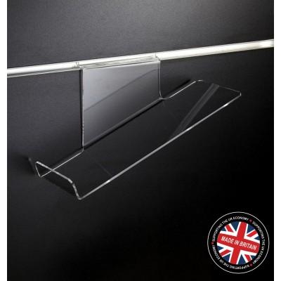 Clear Acrylic Slatwall Sloping Shoe Shelf - Left Hand