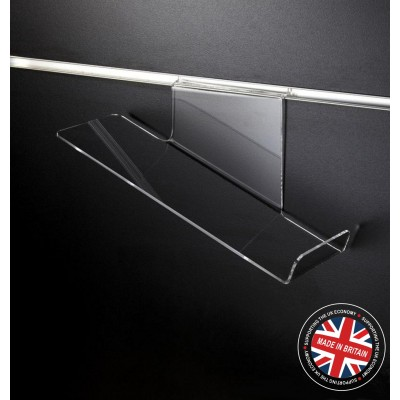 Clear Acrylic Slatwall Sloping Shoe Shelf - Right Hand