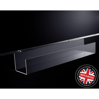 Clear Acrylic Slatwall Narrow Accessory Trough / Shelf with Lip