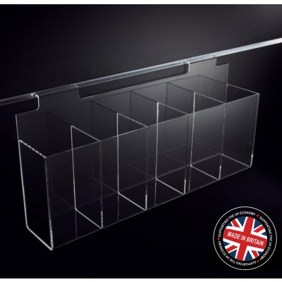 Clear Acrylic Slatwall 600mm 5 Compartment Pen Dispenser Display Rack
