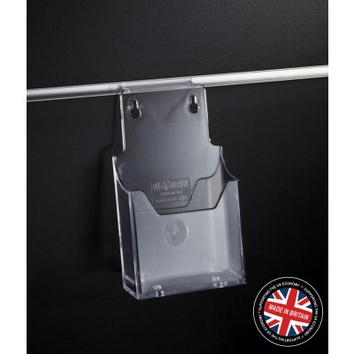 Clear Acrylic Slatwall 1/3 (One Third) A4 Leaflet  / Brochure Holder - Angled