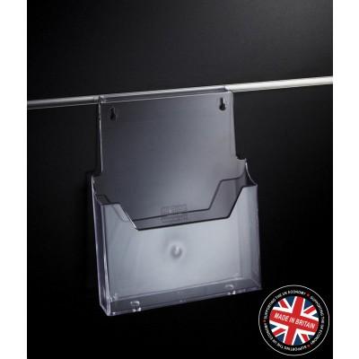 Clear Acrylic Slatwall A4 Leaflet / Brochure / Catalogue Holder - Angled