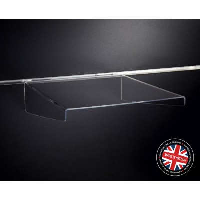Clear Acrylic Slatwall Shelf with Supports - 300mm Deep