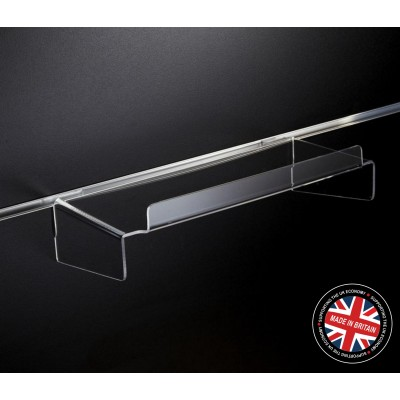 Clear Acrylic Slatwall Shelf with Supports and Lip - 150mm Deep