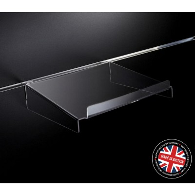 Clear Acrylic Slatwall Shelf with Supports and Lip - 300mm Deep