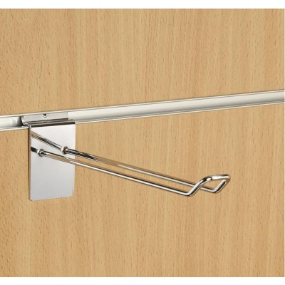 "8"" (200mm) Slatwall Chrome Euro Hook / Prong / Accessory Arm"