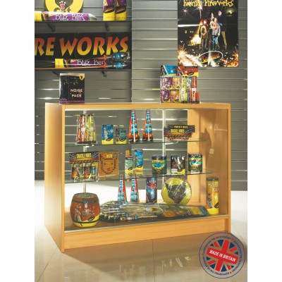 Full Vision Solid Top Glass Shop Counter / Retail Display Counter Cabinet - 6ft (180cm) wide