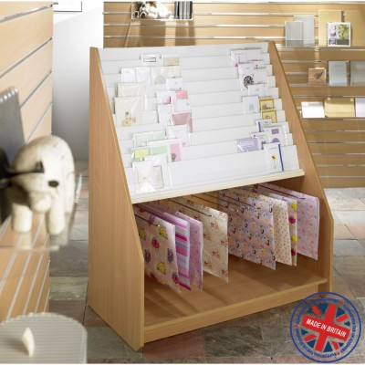 10 Tier Greeting Card Unit with Gift Wrap Display Holder - 1.2m wide