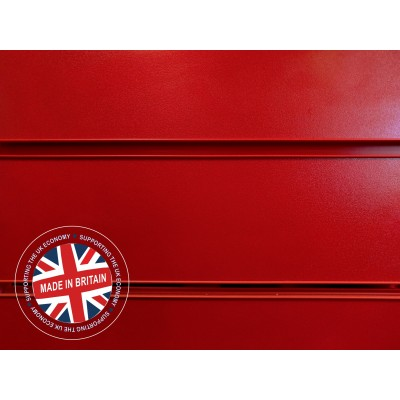 Red Slatwall Panel 8ft x 4ft (2400mm x 1200mm)