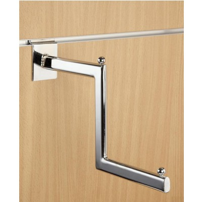 Stepped Chrome Slatwall Hanging Display Step Arm - Oval Tube