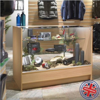 Three Quarter Vision Glass Shop Counter / Retail Display Counter Cabinet - 4ft (120cm) wide