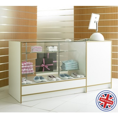 Three Quarter Vision Glass Combo Shop Counter / Retail Display Counter Cabinet - 6ft (180cm) wide