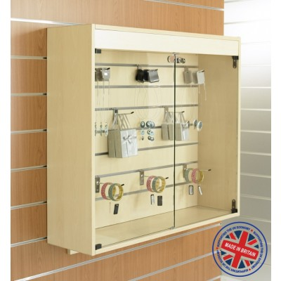 Wall Mounted Slatted Slatwall Showcase Cabinet - 1m wide