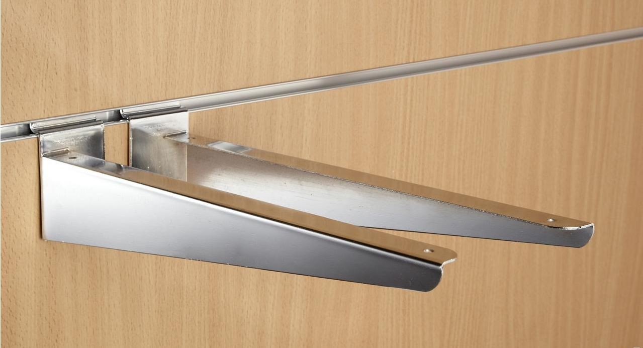 Wood Shelf Brackets ~ Quot inch mm chrome slatwall wood shelf brackets pair