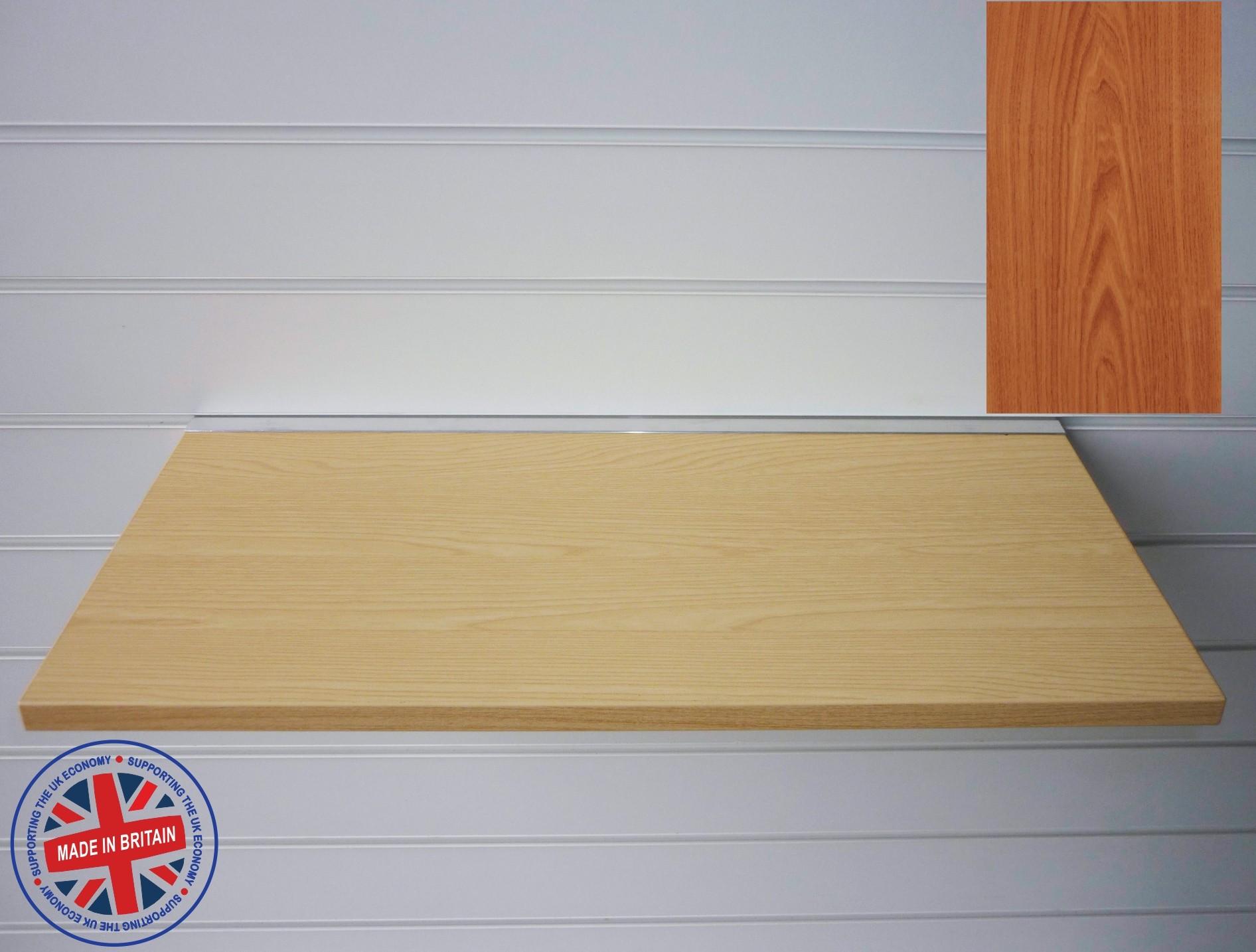 cherry wood shelf floating slatwall shelf 600mm wide x 400mm deep rh ukslatwallpanels co uk cherry wood shelving units cherry wood shelves individual