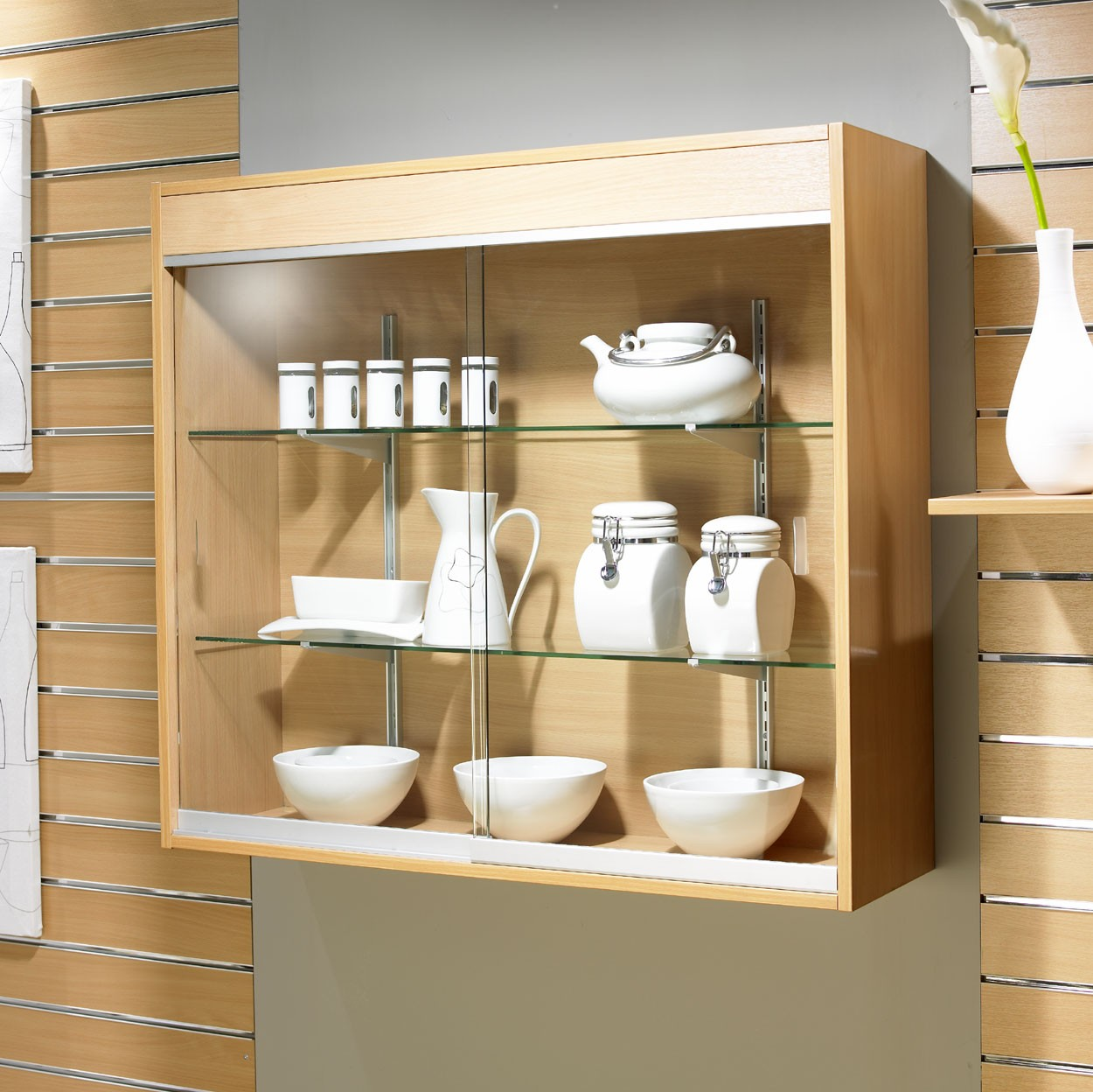 Wall Mounted Glass Display Showcase Cabinet 1m Wide
