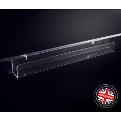 Clear Acrylic Slatwall 600mm Wide Card / CD / DVD Rack