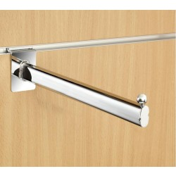 "12"" inch (300mm) Chrome Slatwall Straight Display Arm - Oval Tube Ball End"